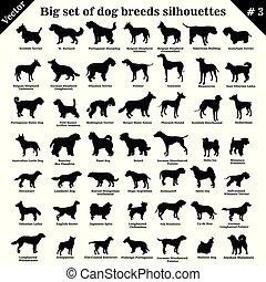 vecteur, silhouettes, 3, chiens