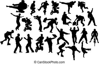 vecteur, silhouettes., action., noir, blanc, homme