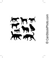 vecteur, silhouettes, chien