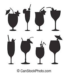vecteur, silhouettes., cocktail