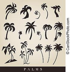 vecteur, silhouettes, de, palmiers