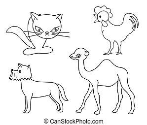 vecteur, -, silhouettes, ensemble, animaux