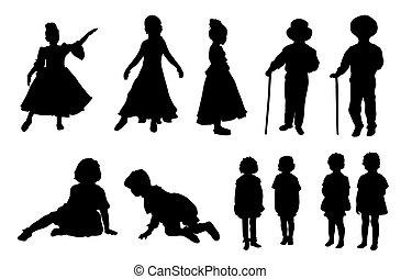 vecteur, silhouettes, ensemble, -, gosses