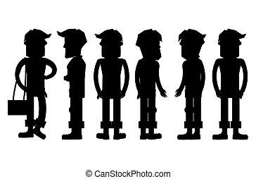 vecteur, silhouettes, ensemble, hipster, caractères