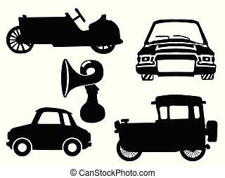 vecteur, silhouettes, ensemble, voitures, noir, vendange