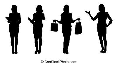 vecteur, silhouettes, ensemble, women., business