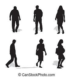 vecteur, silhouettes, marche, hommes, femmes