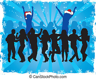 vecteur, silhouettes, noël, fond, danse