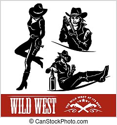 vecteur, silhouettes, occidental, illustration, cowgirls.