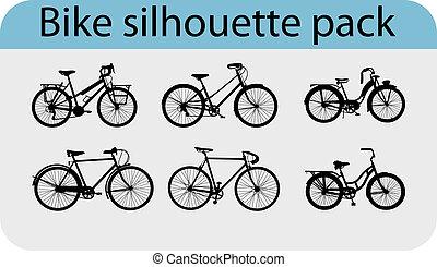 vecteur, silhouettes, vélo