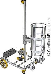 vecteur, simple, blanc, illustration, ascenseur, fond jaune, véhicule, panier, construction, roues