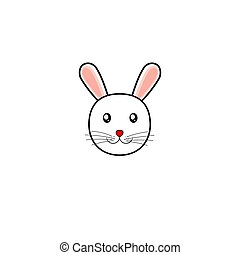 vecteur, simple, illustration, lapin