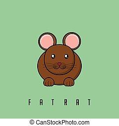 vecteur, simple, illustration, rat