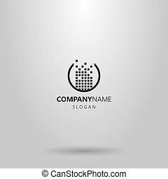 vecteur, simple, logo, construit, rond, carrés, conception, cadre, ensemble