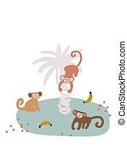 vecteur, singe, île, illustration., mignon, dessin animé, puéril