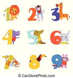 vecteur, singe, education, coloré, hippopotame, dessin animé, lion, girafe, crocodile, toucan, 1, 9, s, livre, conception, nombres, éléphant, zebra, raccoon., enfants, animals.