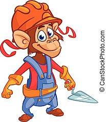 vecteur, singe, trowel., ouvrier, illustration, construction, dessin animé