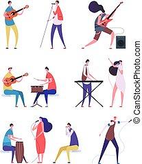 vecteur, singers., gens, instruments, set., exécuter, isolé, musical, musiciens, caractères, rocher, artiste, dessin animé, music.