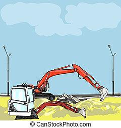 vecteur, site construction, excavateur