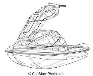 vecteur, ski, sketch., jet