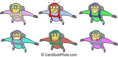 vecteur, skydiver, griffonnage, facial, rigolote, dessin animé, expressions., divers