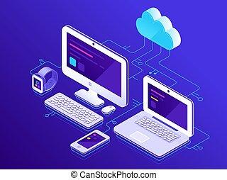vecteur, smartphone, assurer, tablette, storage., ordinateurs portables, server., appareils, connexion, informatique, connecté, illustration, données, nuage