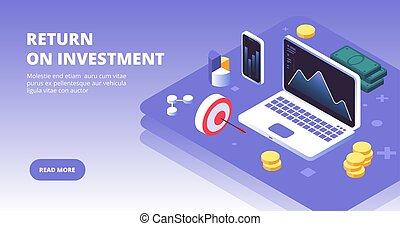 vecteur, smartphone, avantages, reussite, banner., investir, argent, ordinateur portable, profit, concept, capital, symbols., investisseur, investissement