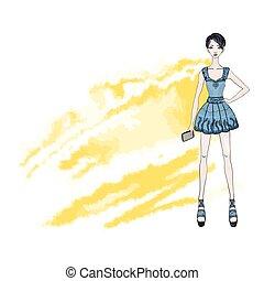 vecteur, smartphone, court, court-d'une chevelure, illustration, main., jeune, isolé, arrière-plan., mode, girl, robe, blanc