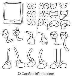 vecteur, smartphone, ensemble, dessin animé