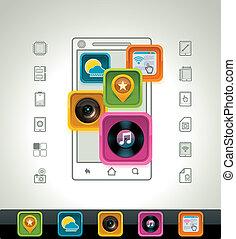 vecteur, smartphone, icône