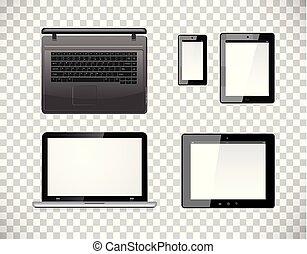 vecteur, smartphone, informatique, tablette, arrière-plan., mobile, isolé, screen., pc, checkered, transparence, vide, ordinateur portable