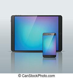 vecteur, smartphone, isolé, illustration, tablette