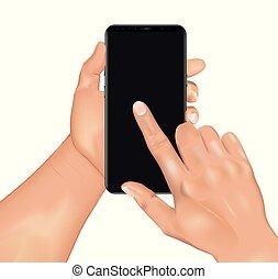 vecteur, smartphone, tenue, écran, main, réaliste, toucher, humain, 3d