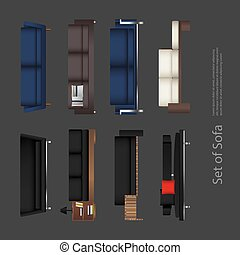 vecteur, sofa, ensemble, illustration, meubles