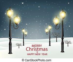 vecteur, soir, lampposts., noël, illustration., paysage, hiver