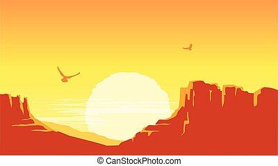 vecteur, soleil, ciel, américain, arrière-plan., canyon, prairie, paysage