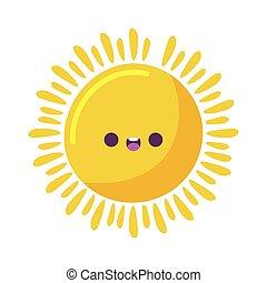 vecteur, soleil, dessin animé, kawaii, conception