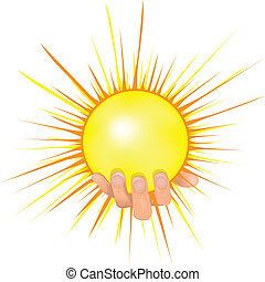 vecteur, soleil, main, illustration., gens