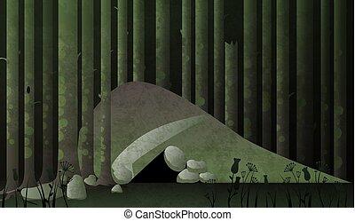 vecteur, sombre, caverne, forest., conte fées, ou, repaire, illustration.