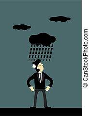 vecteur, sombre, dessin animé, nuage, homme, pleuvoir