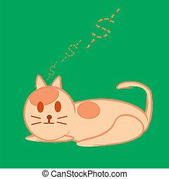 vecteur, sommeil, illustration, chat