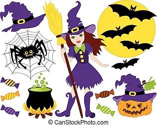 vecteur, sorcière, citrouille, lune, chauves-souris, ensemble, araignés, halloween