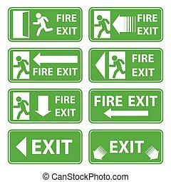 vecteur, sortie secours, signes, ensemble, sur, arrière-plan vert
