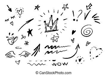 vecteur, souligner, blanc, set., fleur, crown., tourbillon, griffonnage, noir, dessiné, swishes, coeur, calligraphie, graffiti, swoops, queue, main, texte, emphase, collection, éléments