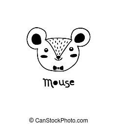 vecteur, souris, simple, mignon, dessin animé, style., figure, rat, illustration