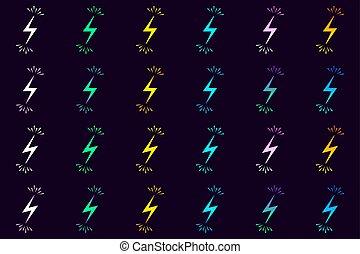 vecteur, sparks., électrique, collection, signes