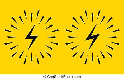 vecteur, sparks., électrique, icône, signe