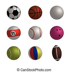 vecteur, sport boule, collection, illustration
