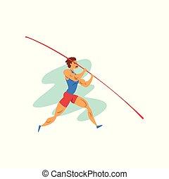 vecteur, sport, championnat, athlète, poteau, sportif, sauter, illustration, fond, professionnel, blanc mâle, athlétisme, concurrence
