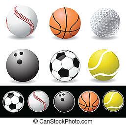 vecteur, sport, illustration, balles